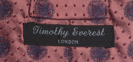 Timothy Everest tie label, from civil ceremony ensemble of Francis Golding