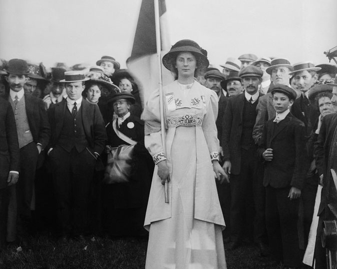 A suffragette at a rally in London.