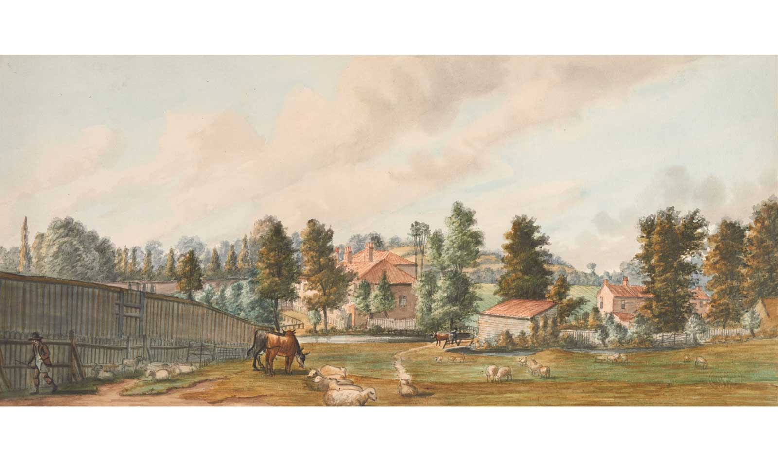 A painting of Bayard's Watering Place which shows a stream of the Westbourne river.