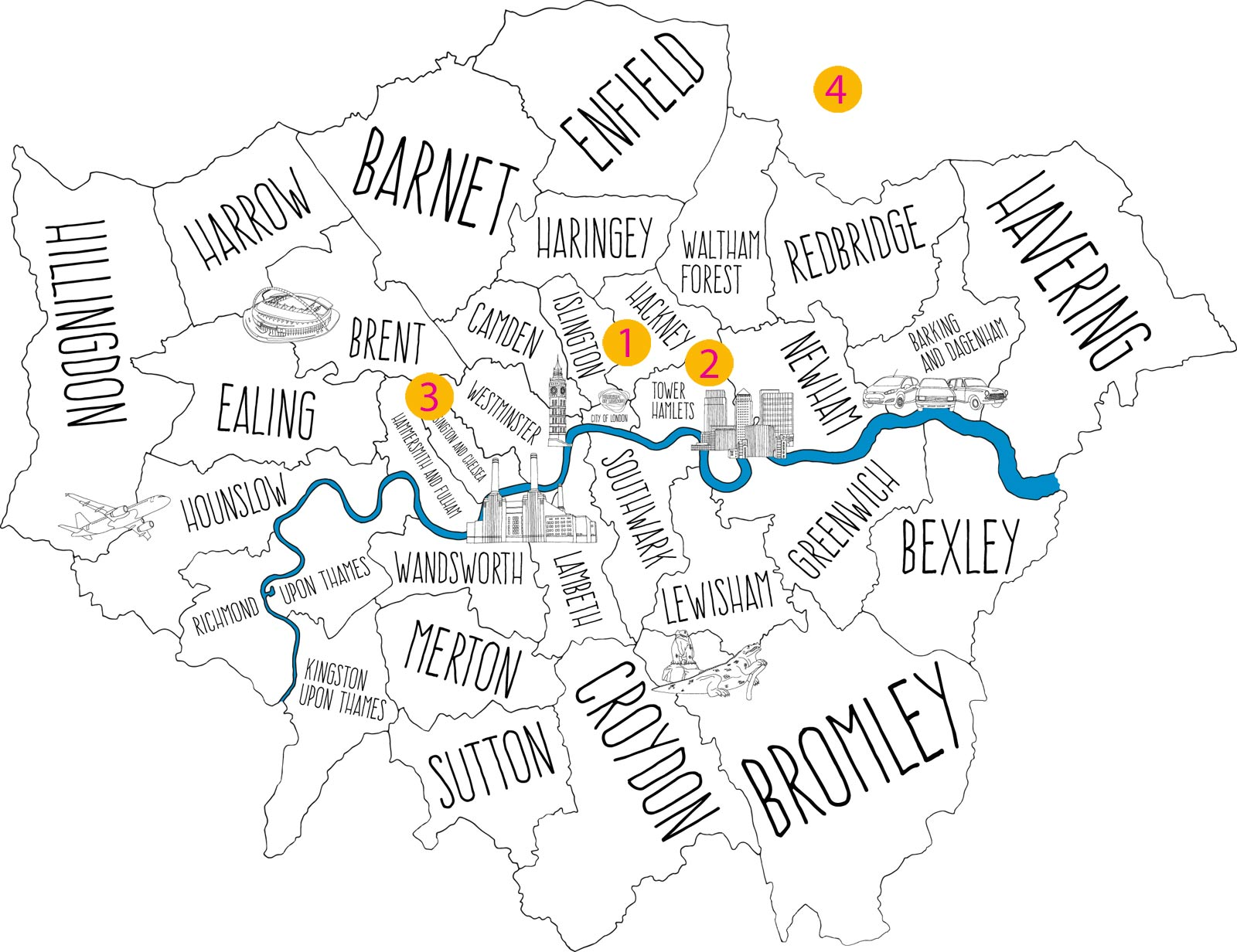 A map of London showing four different Curating London projects across the city.