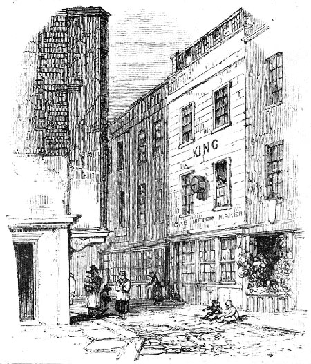 A 19th-century illustration of Cock Lane, site of a fake hunating. Haunting took place in the three-storey building on the right.