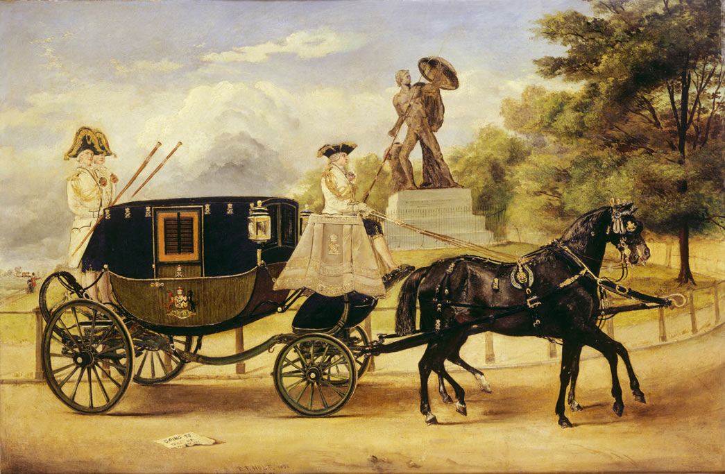 The Dress Carriage of Viscount Eversley in Hyde Park. This oil painting by E.F. Holt depicts Viscount Eversley's dress carriage passing the Achilles statue on the Hyde Park ring road. The coachman and two footmen are in livery and carriage is drawn by two black thoroughbred horses.