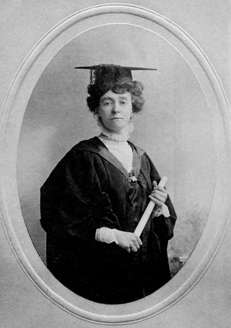 Photographic postcard, portrait of Miss Emily Wilding Davison. Emily Wilding Davidson gave up her teaching post to become a career militant. She joined the Women's Social and Political Union in 1906.