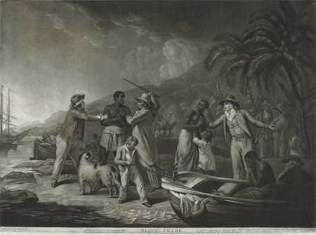 This print is based on George Morland's painting depicting an African family being captured and separated by European sailors compelling them to lives of slavery. Produced at a time in 1791 when the anti-slavery movement was at it s height it was designed to produce a strong response from the viewer. Below the print is inscribed, 'Lo! The Poor Captive with distraction wild / Views his dear Patrtner torn from his embrace/A diff'rent captain buys his /Wife and Child/ What time can from his soul such ills erase/'. It had a companion work called 'African Hospitality'.