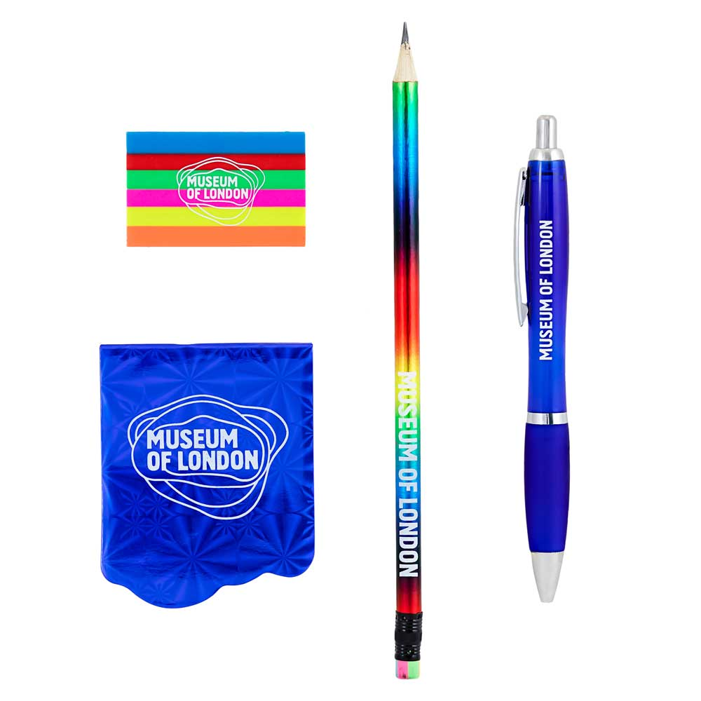 The contents of a goody bag: a Museum of London branded rubber, pencil, pen and notebook.