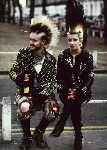 A pair of punks photographed in Wellington Square Chelsea, in 1985.