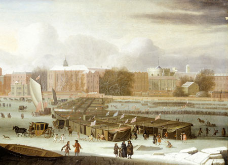 A Frost Fair on the Thames at Temple Stairs. Oil on canvas. Frost fair on the River Thames, January 1684. General view of the frost fair showing line of booths, coaches, sledges, sedan-chairs and groups of people on the ice. A game of ninepins is in progress in the foreground centre and nearby is a gaping hole. St. Clement Danes, Arundel St., Essex Buildings., Essex Stairs, Middle Temple Hall, Temple Stairs, Crown Office Row, Temple church, Serjeant's Inn Hall, predecessor of Paper Buildings and King's Bench Walk can be seen from left to right.