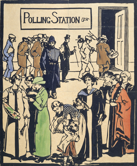 Pro-female suffrage propaganda postcard depicting a scene outside a 'Polling Station'. In the forefront a Mother tends to her child, flanked by a group of professional and graduate women including a nurse and mayor depicted as valued members of society but denied the vote and, therefore, excluded from the Polling Station. Behind, barring their entry to the polling station is a policeman. Queuing to vote are a number of 'enfranchised' men including an agricultural labourer, industrial and manual workers and a top-hated member of the middle class. The slightly controversial message of the postcard appears to suggest that professional women and graduates deserve the vote more than some enfranchised males and brings the issue of 'class' into the Suffrage debate. This design was published in both poster and postcard format by the Suffrage Atelier.