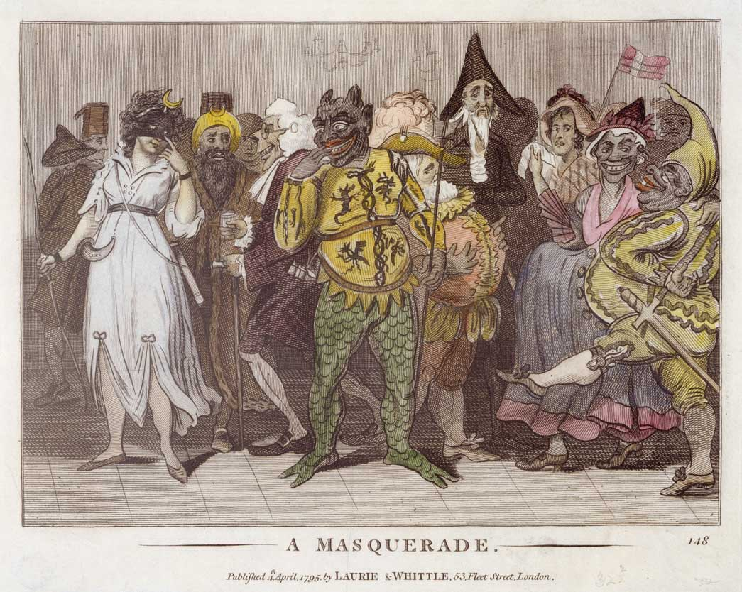 A Masquerade. Depiction of a group of figures dressed as jokers, devils, Turks and other characters.