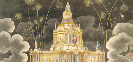 Coloured aquatint and etching showing a crowd watching fireworks at the Temple of Concord in Green Park.
