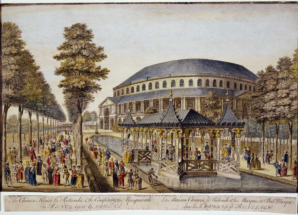 A view of Ranelagh Gardens. A view of 'the Chinese House, the Rotunda & the Company in Masquerade in Ranelagh Gardens'. Crowds of extravagantly dressed people walk on either side of a rectangular pond, in the middle of which is the Chinese House. Behind is a large rotunda. The site of the gardens is now part of the grounds of Chelsea Hospital.