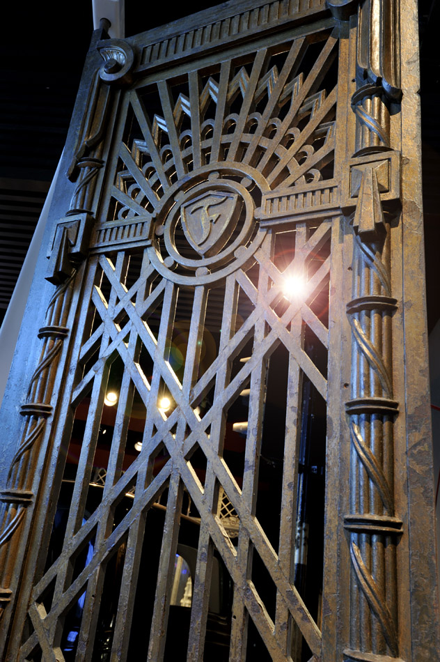 Gates of the Firestone Factory on display in the World City gallery.