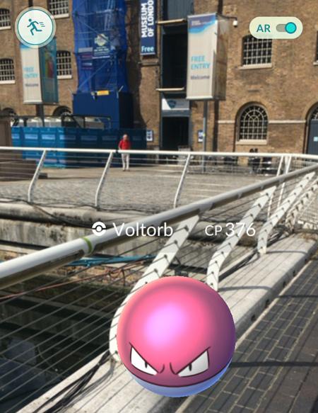 A Voltorb Pokemon pictured on the bridge just outside the Museum of London Docklands.