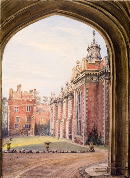 One of a series of twelve watercolour and pencil drawings of the palaces of Fulham, Lambeth and Addington, by H.W. Burgess, 1833, executed and bound together for William Howley, Archbishop of Canterbury.