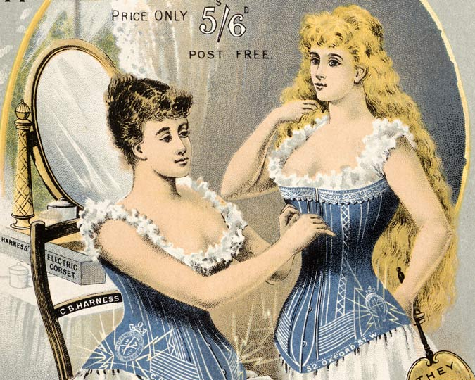 Coloured advertisement for 'Harness' Electric Corsets'. The 'Harness Corsets' were sold by The Medical Battery Co. Limited of 52 Oxford Street for 5/6. The reverse of this advertisement carries more detail about health benefits of corsets and includes an illustration of The Medical Battery Co. premises.
