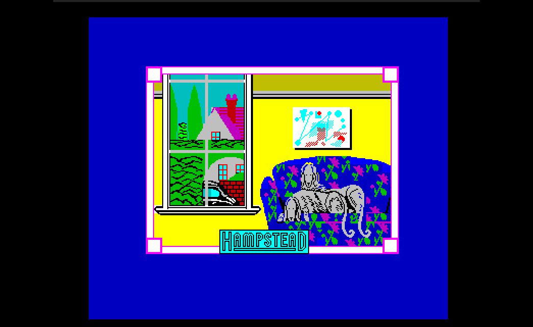 Opening screen of video game Hampstead.