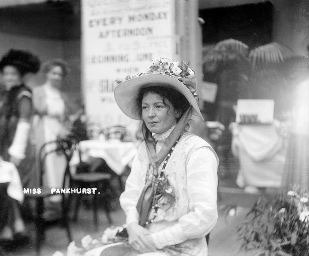Christabel Pankhurst at The Women's Exhibition. Suffragette Christabel Pankhurst, the co-founder and leader of the Women's Social and Political Union, was photographed inside The Women's Exhibition held at Princes' Skating Rink, Knightsbridge, on 13-26 May 1909. Sale proceeds from the exhibition went into the union's suffrage campaign fund.