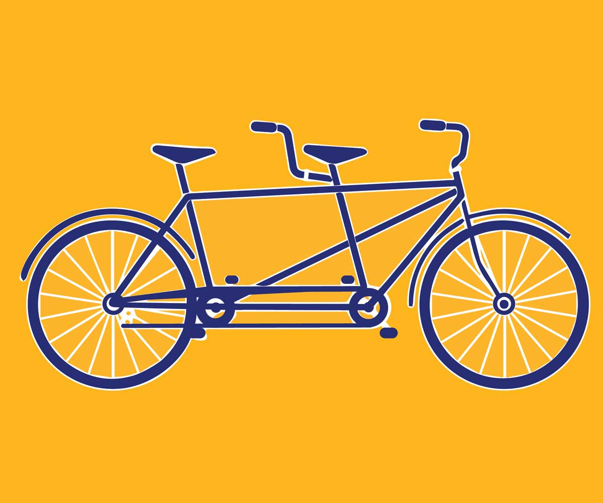 A blue illustration of a tandem bicycle against a yellow background.
