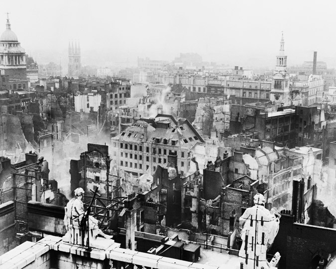 An image of the area around St. Paul's in early 1941. By kind permission of the Commissioner of the City of London Police.