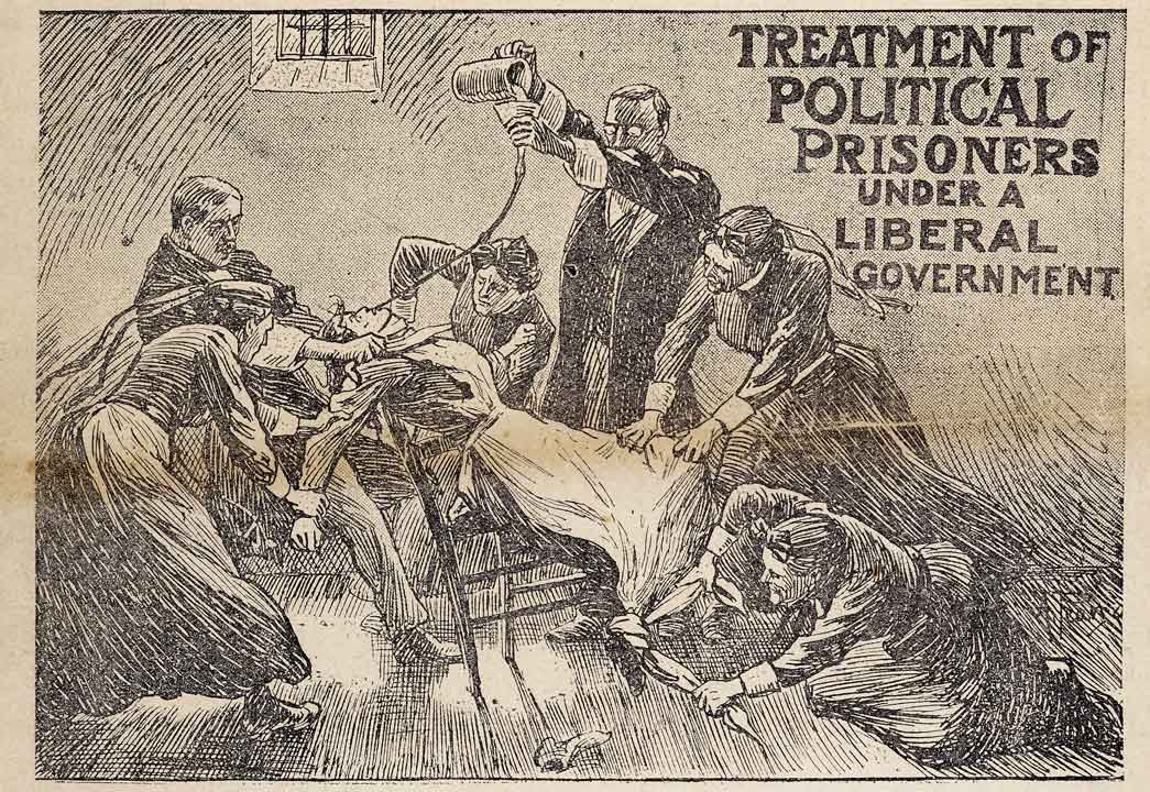 Treatment of Political Prisoners under a liberal government. This image is taken from the front cover of The Suffragette newspaper Friday February 6th 1914, Number 69 volume 2. The article was edited by Christabel Pankhurst and it was about what medical men thought of the process of force feeding which was being practiced on the women suffragettes in Holloway Prison.