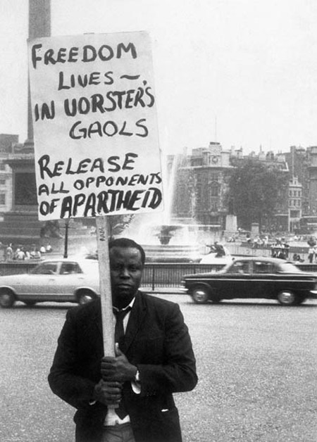A protestor against apartheid outside South Africa House, 1967.