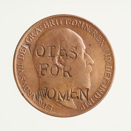 One penny coin (1910) stamped