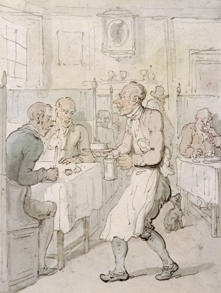 A City Chop House. A waiter carries a tankard and bowl towards the gentlemen diners at their table. The wooden partitions between tables are typical of the London chop-house of the period - such establishments were common in the City and along Fleet Street and the Strand until late Victorian times. They offered a lunch of meat and a pint of ale for as little as sixpence.