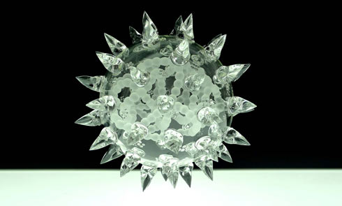 Untitled Future Mutation by Luke Jerram, glass sculpture representing a disease.