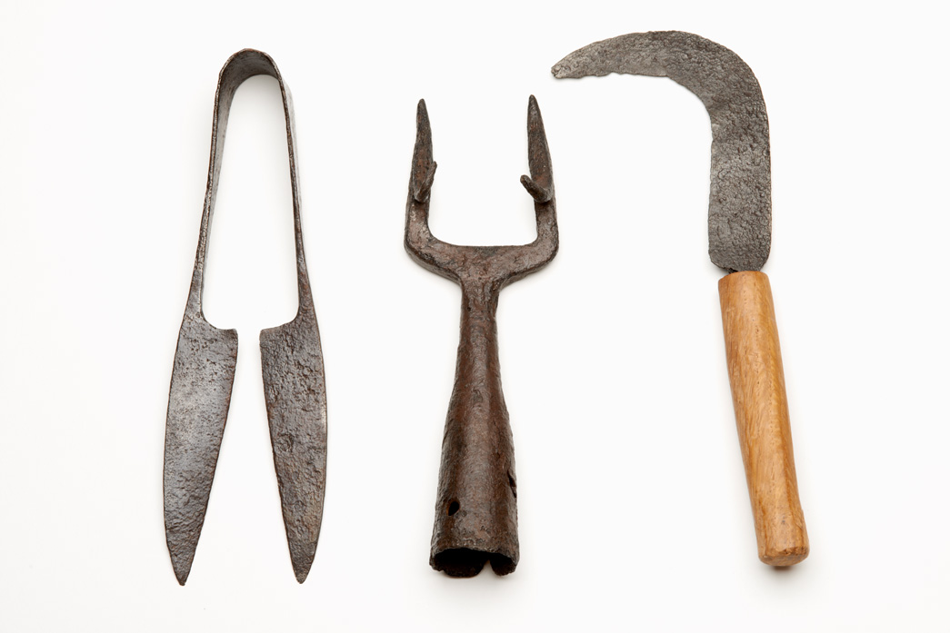 Tools for gardening excavated from Walbrook stream.
