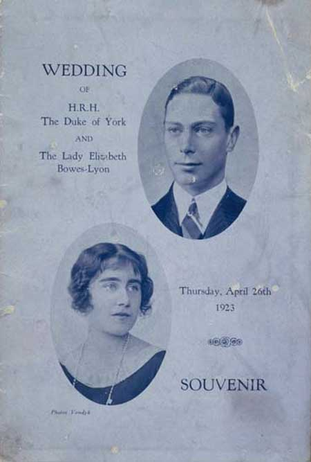 The programme was issued by Westminster Hospital, partly to raise funds and partly as a souvenir of the event and includes black and white photos of the hospital wards and a donation form. On the cover are printed medallion portraits of the young couple.