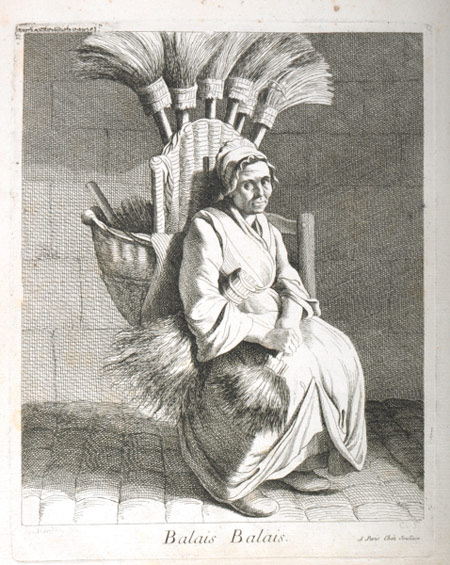 The French sculptor Edme Bouchardon, made a large number of drawings of Parisian street traders. The trades depicted are similar to those of London – barrel makers, oyster sellers, broom sellers as well as servants and apprentices. However, Bouchardon's images have a restrained quality which is in marked contrast to contemporary depictions of London street traders. English prints in this vain tend to be either sentimental or comic.