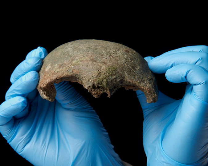 A fragment of Neolithic skull now on display at the Museum of London.