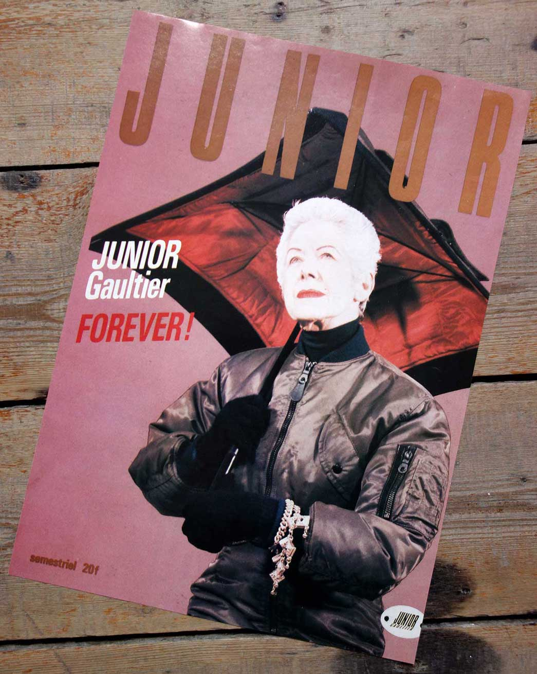Magazine clipping saying Junior Gaultier Forever.