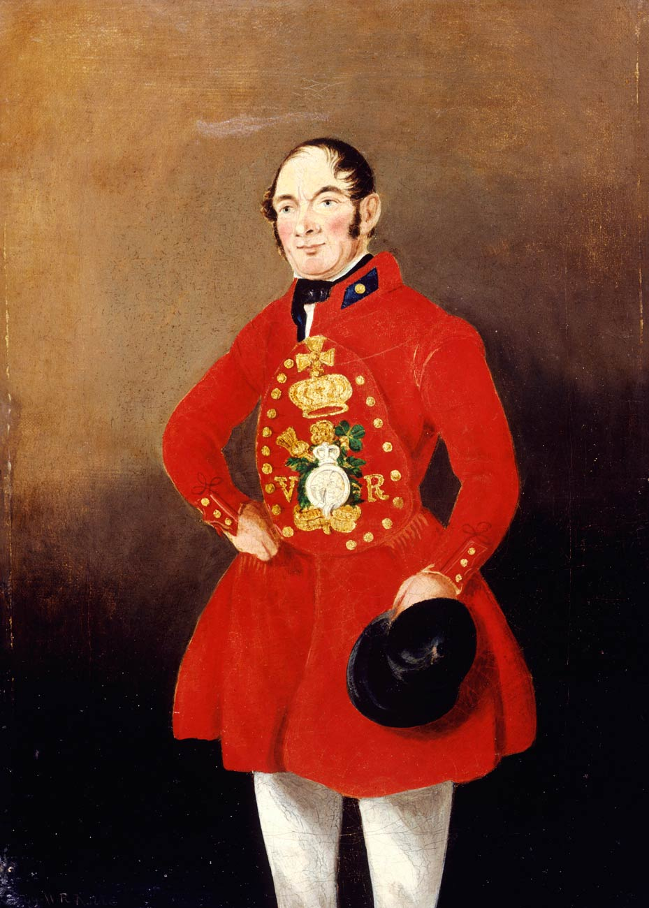 Painting of a royal bargeman in ceremonial uniform.