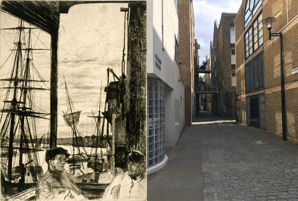Rotherhithe. Etching and dry point. Balcony of the Angel Inn, Cherry Gardens in Rotherhithe, with Wapping seen across the river. Photograph of Rotherhithe in 2016.