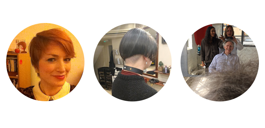 Photographs of the exhibition creators' and article author haircuts