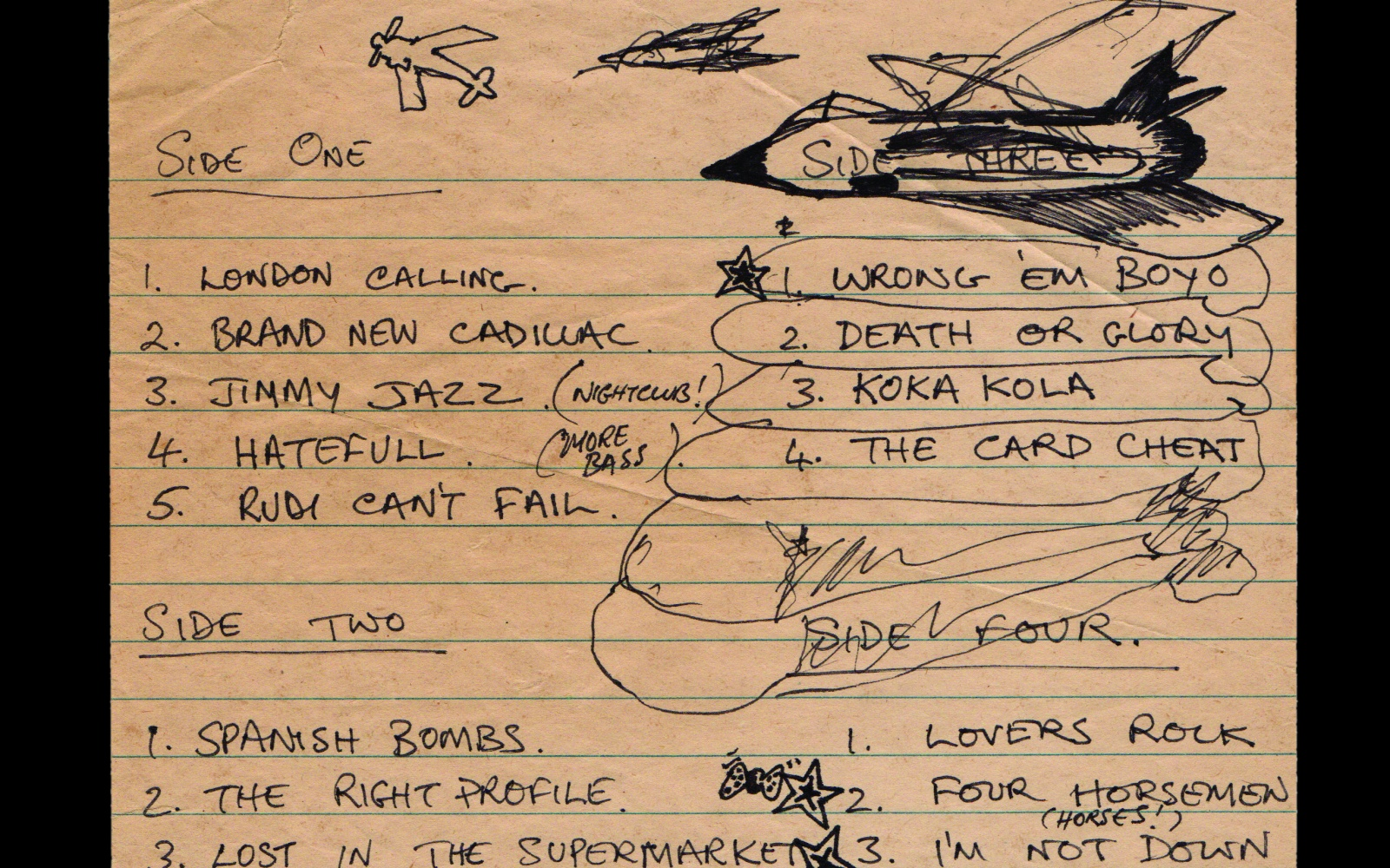 Handwritten track listing by Mick Jones (c) The Clash archive Cropped.jpg