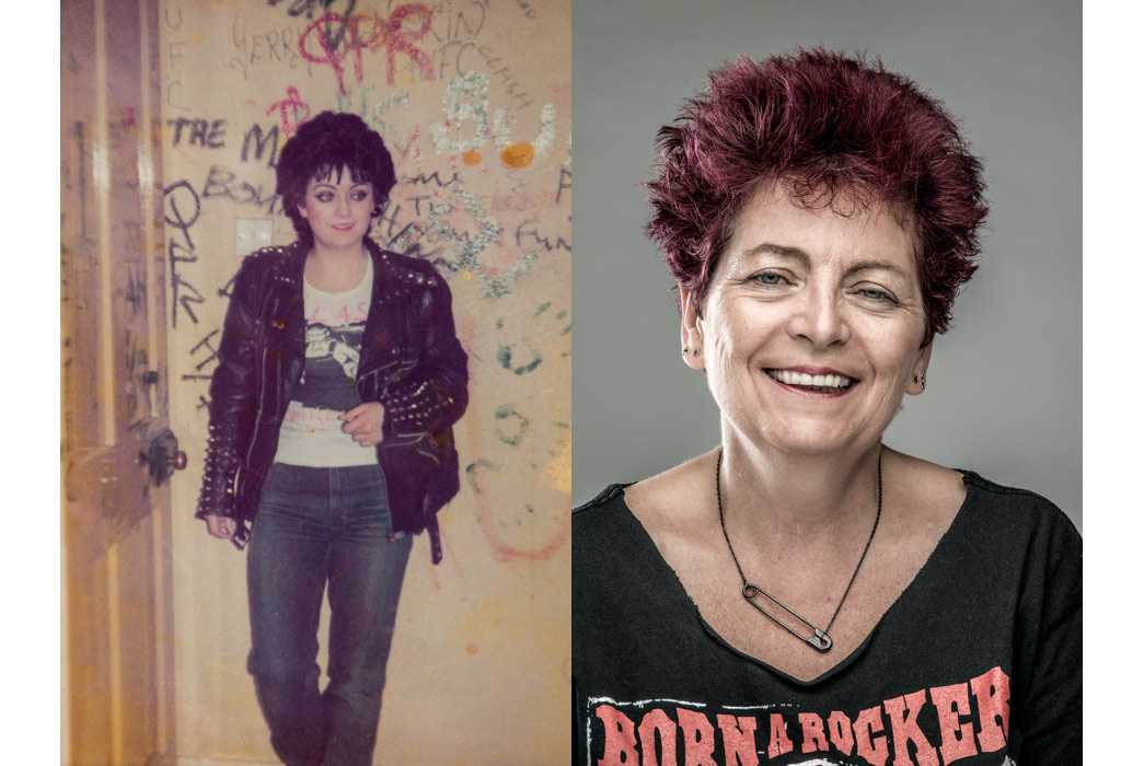 Punk Rosie Mellows, pictured in 1976 and 2016.