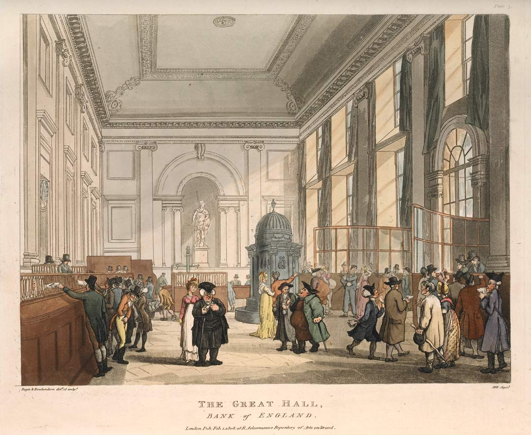 The Great Hall, Bank of England. Hand-coloured aquatint. The newly centralised Bank of England was the largest and most powerful financial undertaking in the City of London. During the late 18th and early 19th century, its complex of buildings was redeveloped in a grand style under the direction of the architect John Soane (1753-1837). In the Great Hall, bank notes were issued and exchanged. In another giant hall, hundreds of professional brokers and jobbers as well as ordinary investors came to buy and sell government stock each day.