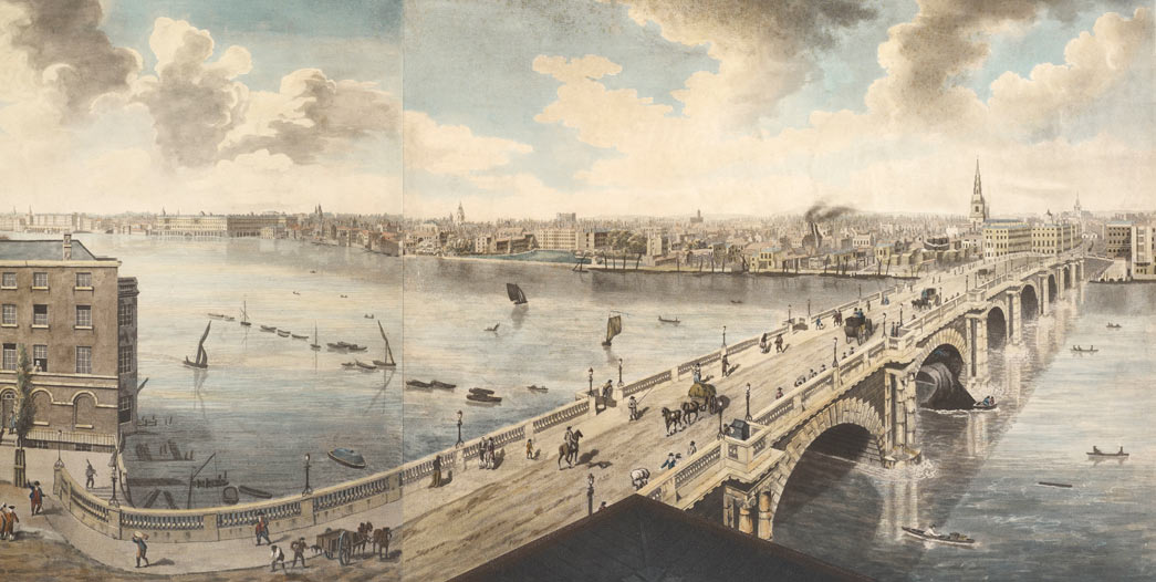 Panoramic view of London from the roof of Albion Mills, a factory at the south end of Blackfriars Bridge, which was destroyed by fire shortly after completion of the sketches in early 1791.