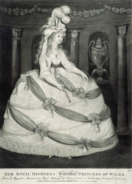 Her Royal Highness Caroline Princess of Wales. Full length portrait of Caroline of Brunswick, Princess of Wales. The print commemorates her wedding which took place on 8 April 1795. The print was published a few days earlier. Mezzotint.