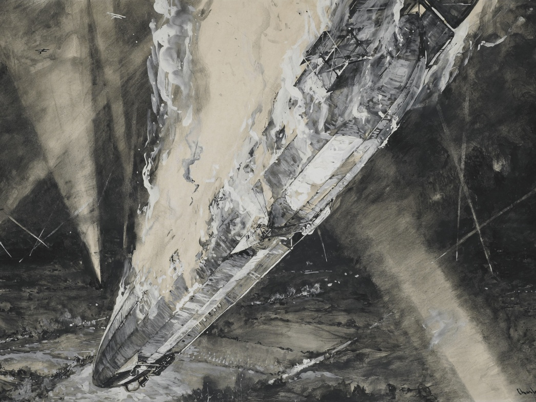 Fall of Cuffley Zeppelin 1916 by  Charles Dixon (c) Museum of London Cropped.jpg