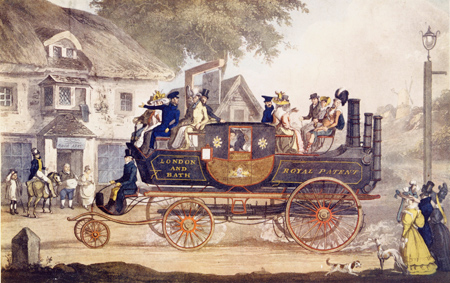 The New Steam Carriage. A coloured lithographic drawing of the new steam carriage of inventor and patentee, Mr. Goldsworthy Gurney. Shown here operating a passenger service between London and Bath.