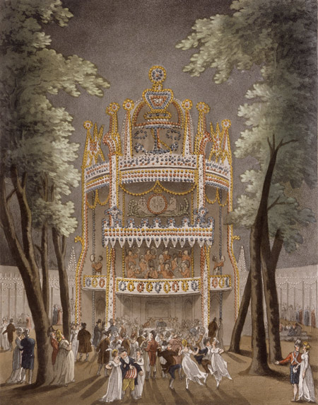 Vauxhall Gardens. Coloured aquatint with etching. Exterior view of the gardens with an orchestra playing in the balconied tower, which can seen in the background. Night scene where couples, including military officers, are dancing together.