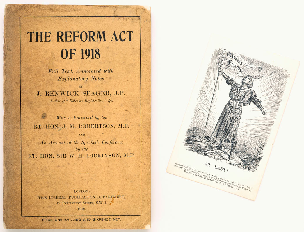 Book titled 'The Reform Act of 1918'. It contains the full text, annotated with explanatory notes by J. Renwick Seager. The front cover is inscribed Edith How Martyn. Black and white picture postcard