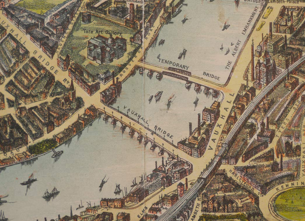 A map of the Thames, illustrated by Chas Baker in 1901 and showing the Vauxhall temporary bridge.