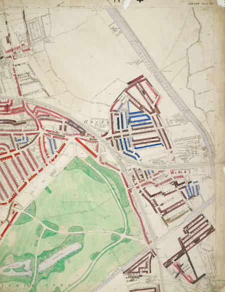 Section 10 of the original Descriptive map of London Poverty, 1889, compiled and hand coloured by Charles Booth and assistants. The section covers the area between Durlington Road in the North West; Temple Mill Road in the North East; Dace Road in the South East and Victoria Park in the South West. The districts covered are Victoria Park and Hackney Marshes.