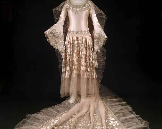 Wedding dress designed by Norman Hartnell.