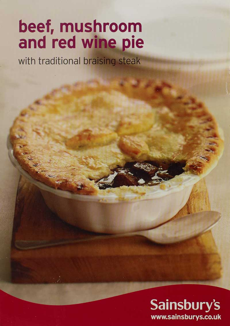 A Sainsbury's recipe card titled 'Beef, mushroom and red wine pie' and an appealing photo of one.
