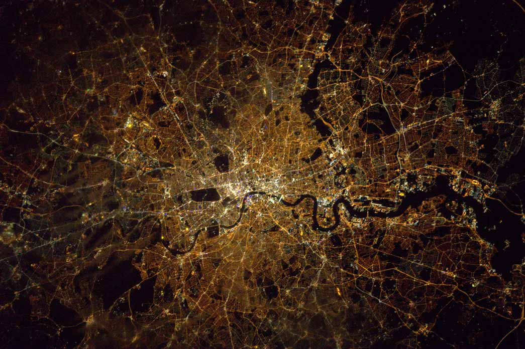 View of London from the International Space Station, taken by astronaut Tim Peake.